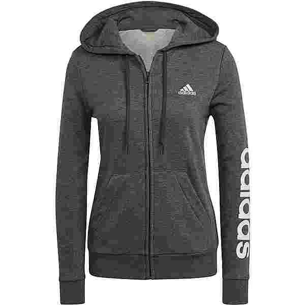 adidas LINEAR SPORT ESSENTIALS Sweatjacke Damen dark grey heather-clear pink