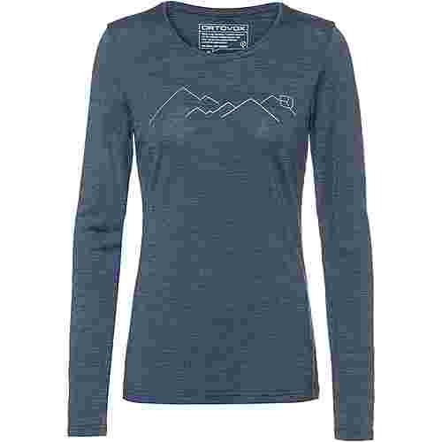 ORTOVOX Merino 185  MOUNTAIN Langarmshirt Damen night blue blend