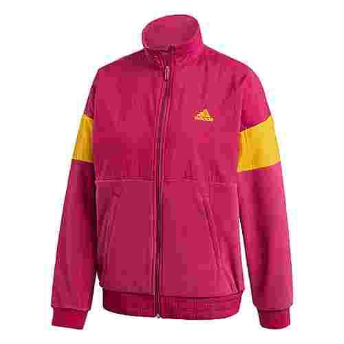 adidas Trainingsjacke mit Grafikprint Fleecejacke Damen Weinrot