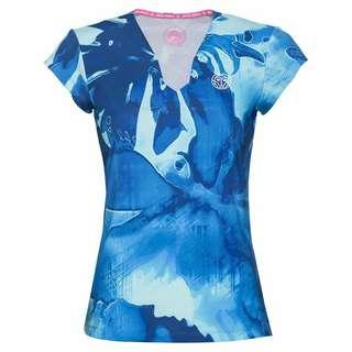 BIDI BADU Bella 2.0 Tech V-Neck Tee Tennisshirt Damen turquoise/dunkelblau