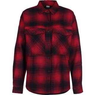 Urban Classics Check Langarmhemd Damen rot/kariert