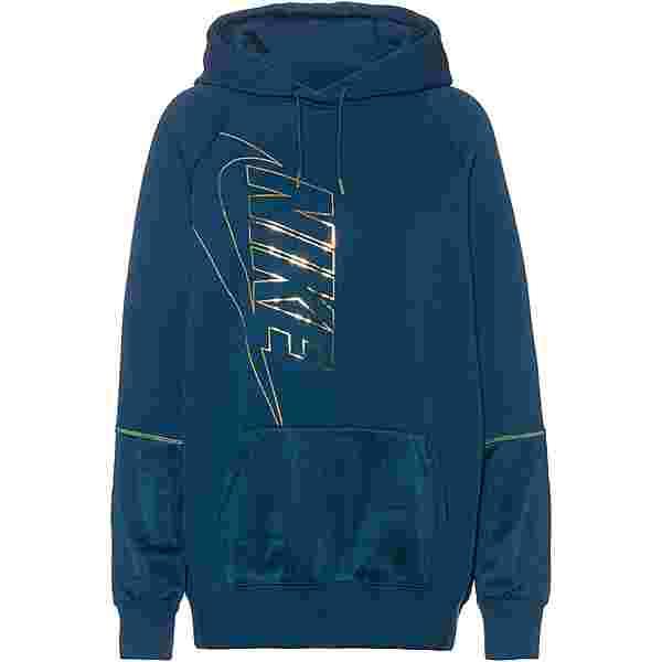 Nike NSW Hoodie Damen valerian blue-deep ocean-metallic gold