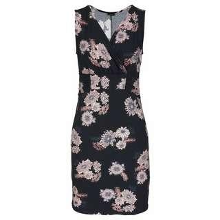 Lascana Minikleid Damen schwarz-rose-bedruckt