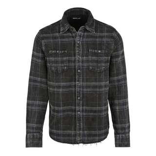 REPLAY mit Karo-Muster Langarmhemd Herren schwarz/blau