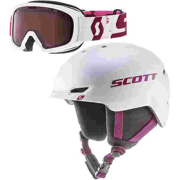 SCOTT Combo Keeper 2+Goggle Jr Witty Skihelm Kinder white pearl-cassis pink