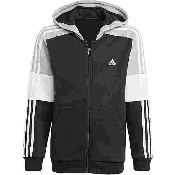 adidas Essentials Sweatjacke Kinder black-medium grey heather-white