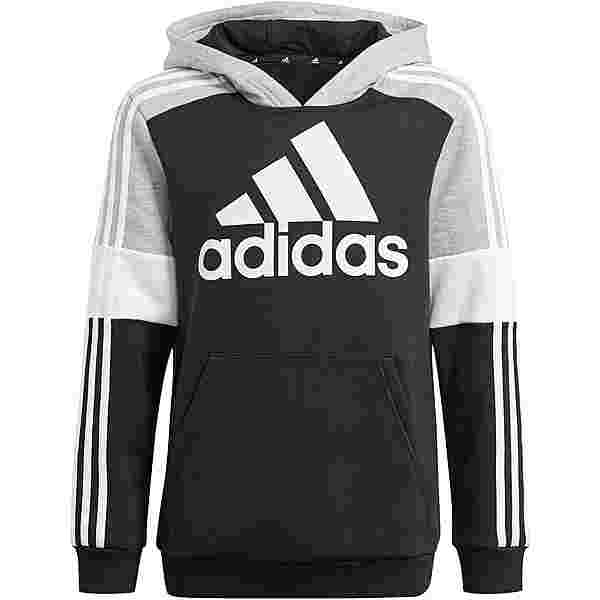 adidas Essentials Fleecehoodie Kinder black-medium grey heather-white