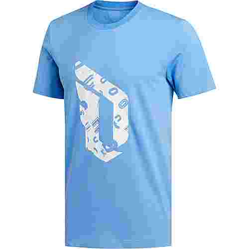 adidas Dame Logo Basketball Shirt Herren hellblau / weiß