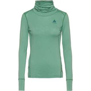Odlo Merino NATURAL WARM Funktionsshirt Damen malachite green grey melange