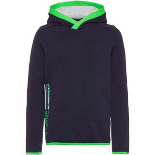 CMP Fleecehoodie Kinder black blue-verde fluo