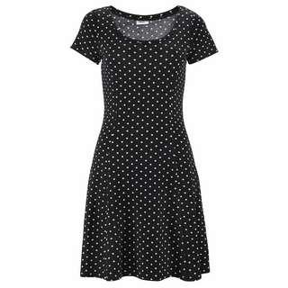 BEACH TIME Kurzarmkleid Damen schwarz-weiß-gepunktet