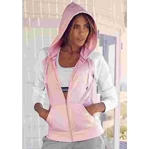 Bench Sweatjacke Damen rosa-weiß