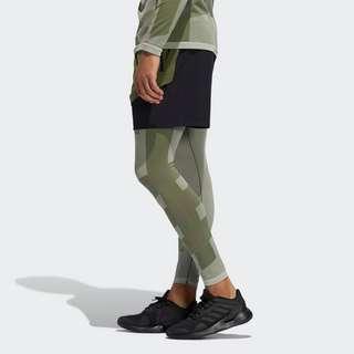 adidas Studio Techfit Seamless Lange Tight Tights Herren Cream White / Wild Pine