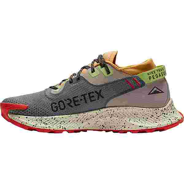 Nike GTX PEGASUS TRAIL 2 GTX Laufschuhe Herren smoke grey-black-bucktan-college grey-key lime-chile red