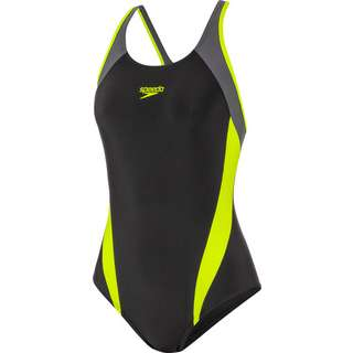 SPEEDO Schwimmanzug Damen black-fluo yellow-oxid grey