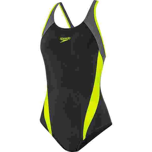 SPEEDO Schwimmanzug Damen black-fluo yellow-oxid grey