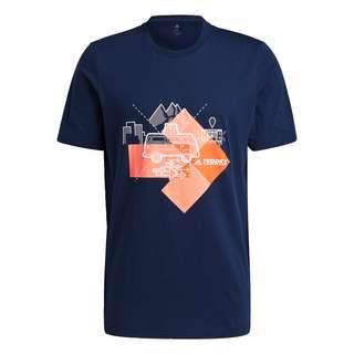 adidas Travel Graphic T-Shirt Funktionsshirt Herren Blau