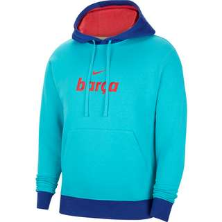 Nike FC Barcelona Hoodie Herren oracle aqua-lt fusion red