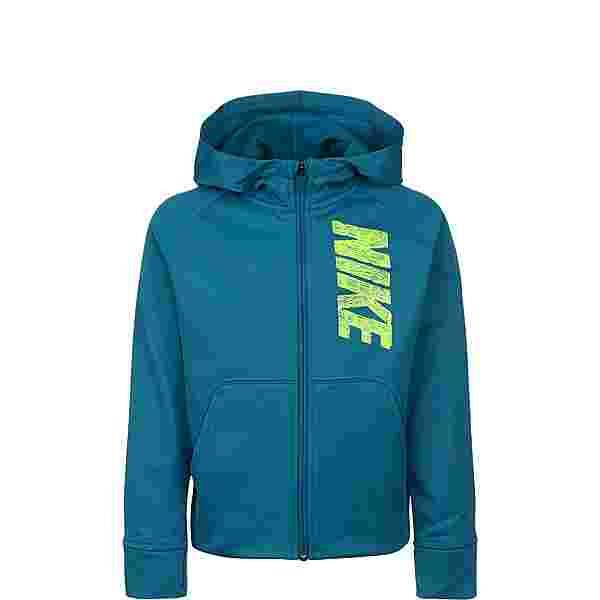 Nike Therma GFX Sweatjacke Kinder petrol / neongrün