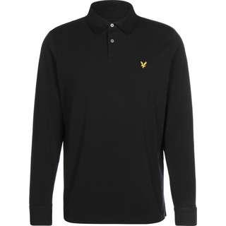 Lyle & Scott Woven Collar Long Sleeve Jersey Poloshirt Herren schwarz