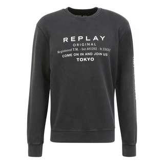 REPLAY mit Label-Print Sweatshirt Herren black