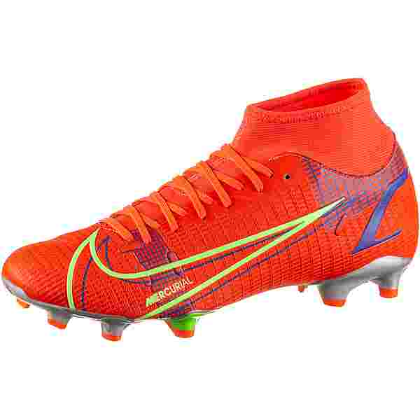 Nike MERCURIAL SUPERFLY 8 ACADEMY FG/MG Fußballschuhe bright crimson-metallic silver