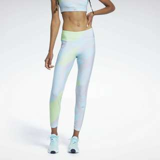 Reebok Run Essentials Allover Print Leggings Tights Damen Blau
