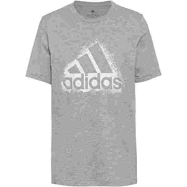 adidas Essentials T-Shirt Herren medium grey heather-white