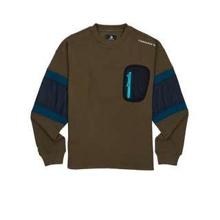 CONVERSE Mixed Media Crew Pullover Sweatshirt Herren Gruen