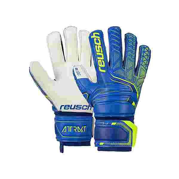 Reusch Attrakt SG Finger Support Torwarthandschuhe deep blue/safety yellow