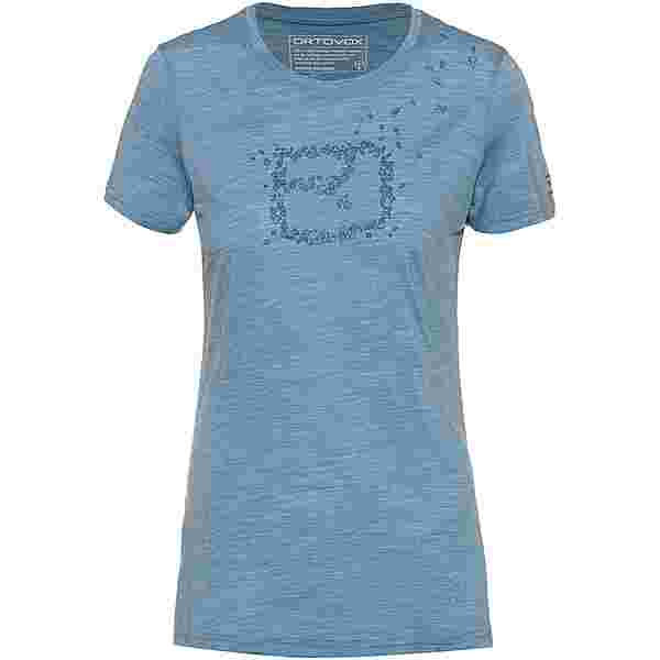 ORTOVOX Merino 150 COOL LEAVES Funktionsshirt Damen light blue blend