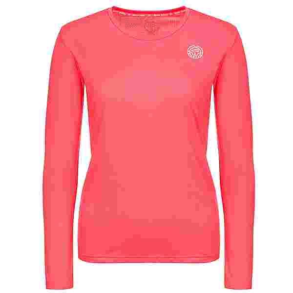 BIDI BADU Pia Tech Roundneck Longsleeve Tennisshirt Damen coral