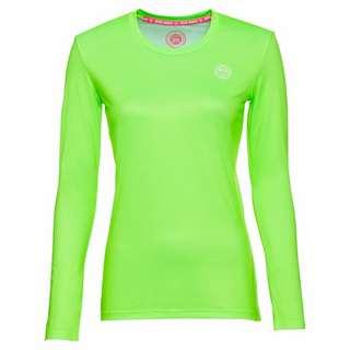 BIDI BADU Pia Tech Roundneck Longsleeve Tennisshirt Damen neongrün