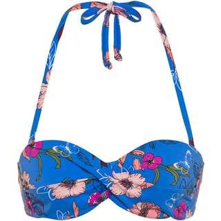 S.OLIVER Bikini Oberteil Damen blumendruck blau