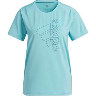 adidas TECH BADGE OF SPORT AEROREADY Funktionsshirt Damen mint ton-orbit indigo