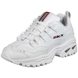 Skechers Wavy Leather Lace Up Sneaker Damen weiß / rot