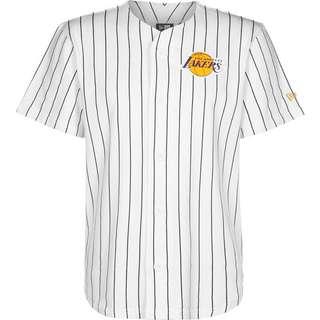 New Era Laker Pinstripe Baseball Jersey T-Shirt Herren weiß/schwarz/gestreift