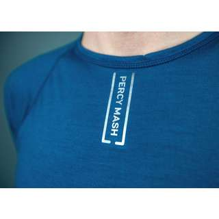 PERCY MASH Merino Baselayer kurzarm – Petrol Blue Unterhemd Blau