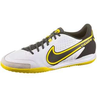 Nike Tiempo LEGEND 9 ACADEMY IC Fußballschuhe Herren white-dk smoke grey-black-yellow strike-black