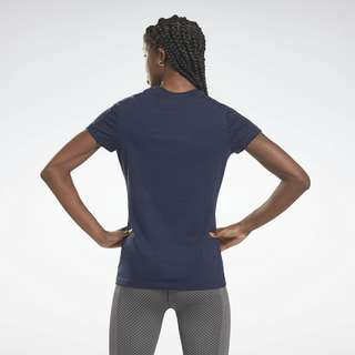Reebok Piping Slim T-Shirt Funktionsshirt Damen Blau