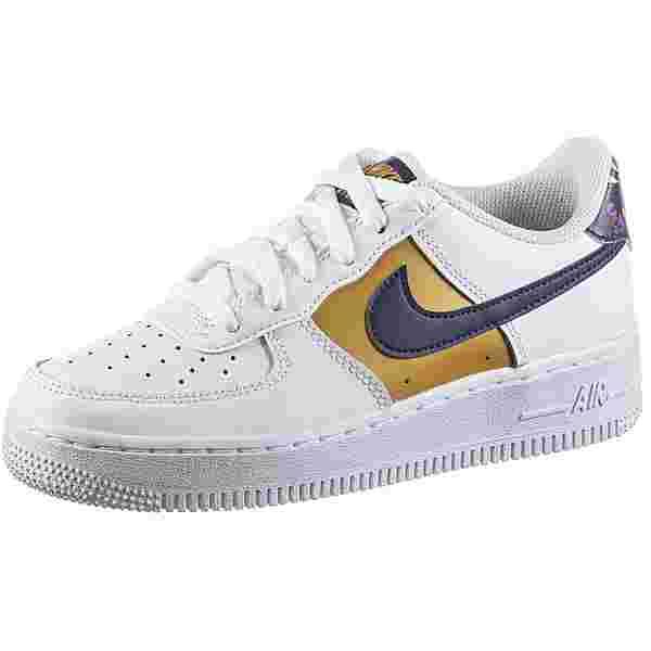 Nike Air Force 1 Sneaker Kinder white-gold-blue