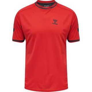 hummel hmlACTION POLY JERSEY S/S T-Shirt Herren FLAME SCARLET/EBONY