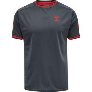hummel hmlACTION POLY JERSEY S/S T-Shirt Herren EBONY/FLAME SCARLET