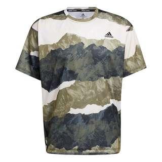 adidas Earth Graphic Yoga T-Shirt Funktionsshirt Herren Focus Olive / Black