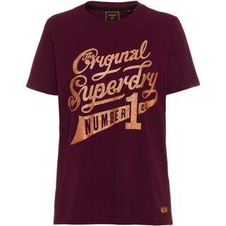 Superdry Glitter Sparkle T-Shirt Damen boston burgundy grit