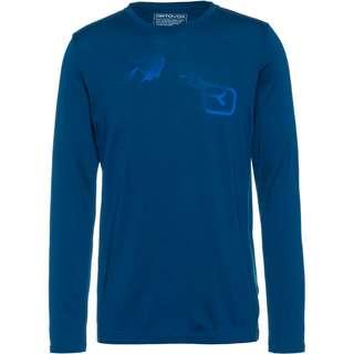 ORTOVOX Merino 185 Logo Spray Funktionsshirt Herren petrol blue