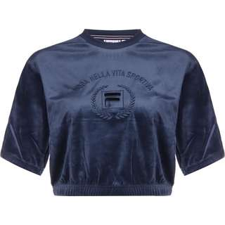 FILA Chana Cropped Velvet T-Shirt Damen blau