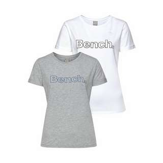 Bench T-Shirt Damen hellgrau-meliert + weiß