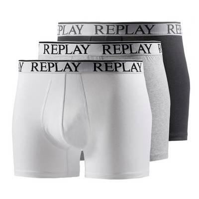 REPLAY Boxer Herren schwarz/weiß/grau