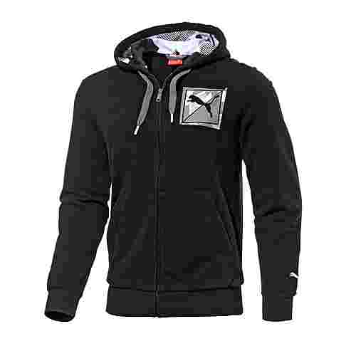 puma casual logo sweatjacke herren schwarz im online shop. Black Bedroom Furniture Sets. Home Design Ideas